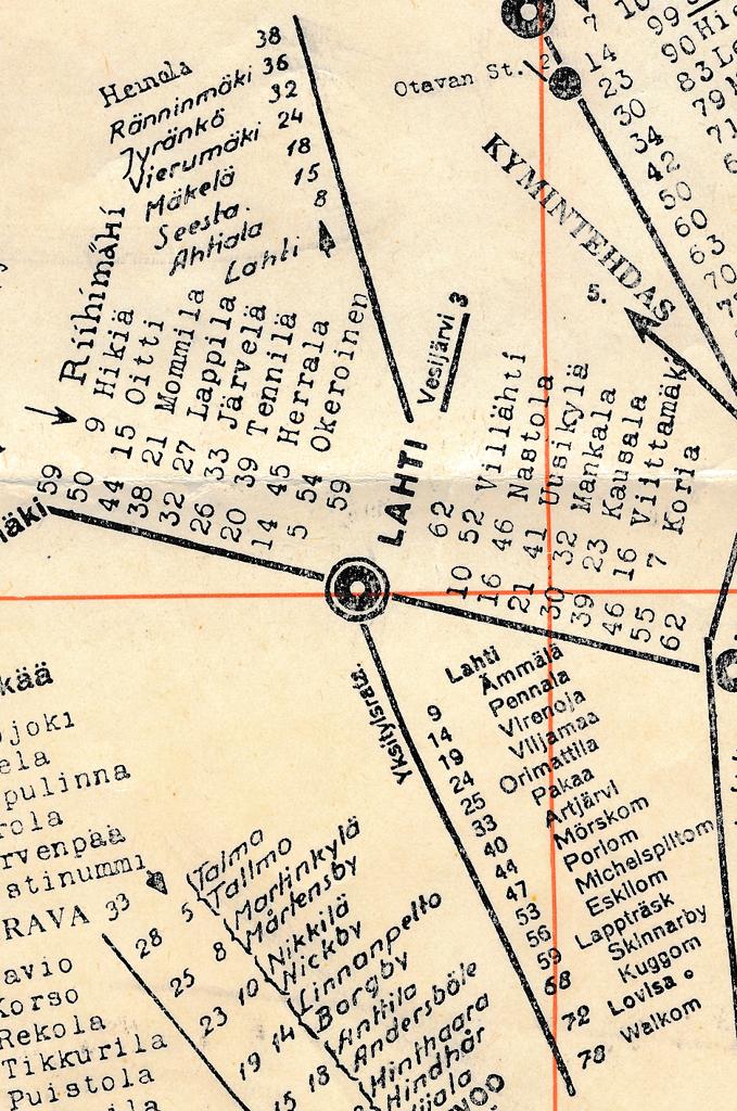 Lahden seutu Rautatie - Välimatkakartasta (Liikennöitsijän käsikirja nro 16)