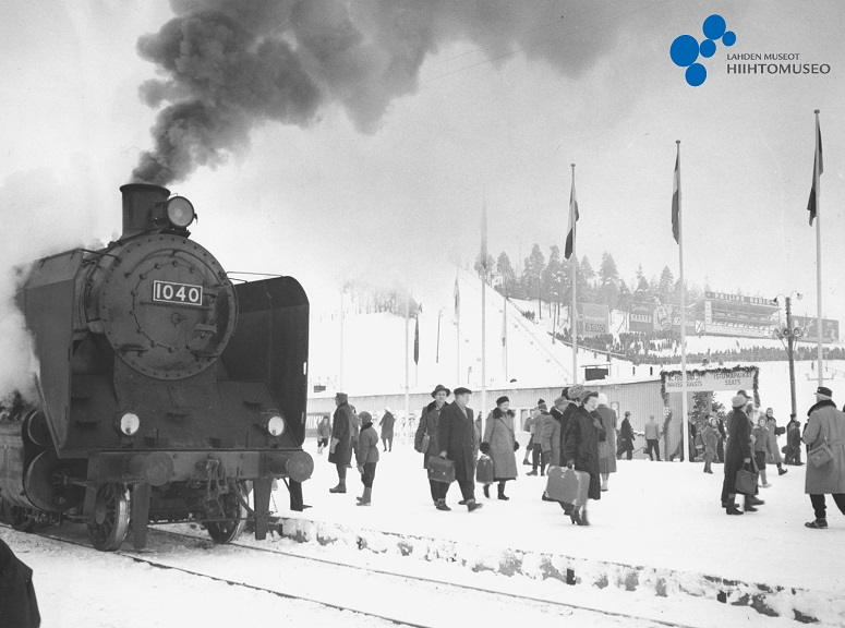 Juna Salpausselän asemalla, Lahti MM 1958.